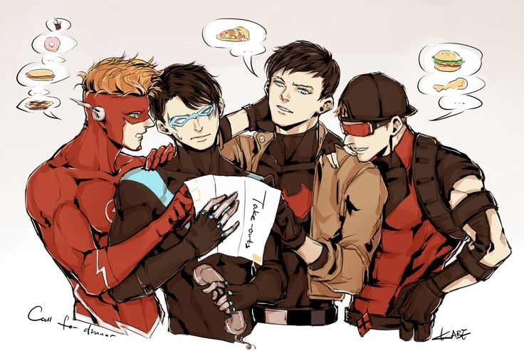 """Time for some takeouts:P #kidflash #Nightwing #RedHood #RedArrow"""