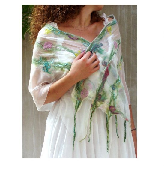 This is a pastel Spring floral fairy nuno felt scarf from luxury merino and pure silk for women who like feminine style. CUSTOM ORDER I will need 5-10 work days to prepare them for You. Romantic ga… #spring #feminine #wedding #nunofelt #luxury #silkscarf