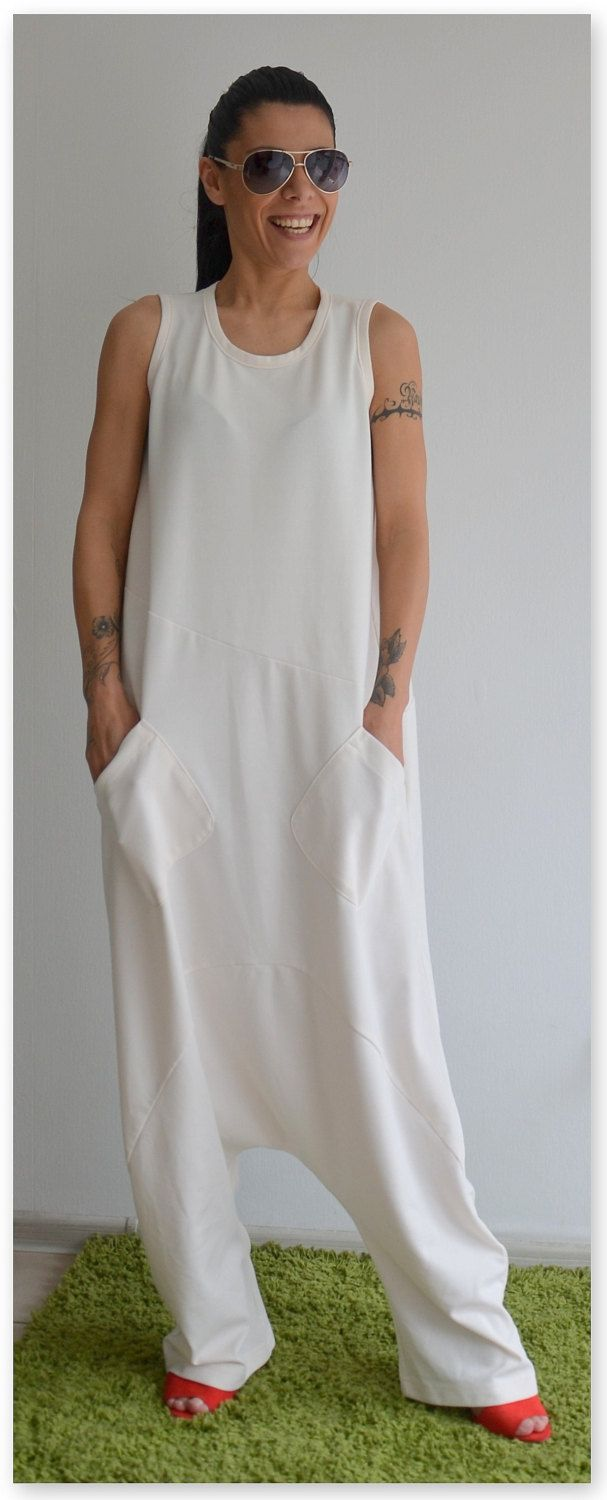 Loose white jumpsuit / Low crotch jumper / Soft woman romper / Maxi white jumpsuit by ClothesByLockerRoom on Etsy