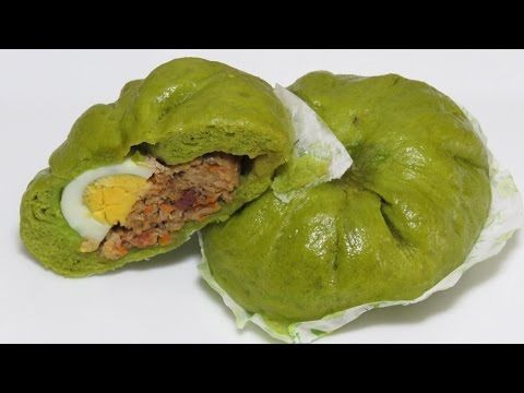 Зеленый Baozi Pandan Шпинат вьетнамский пропаренный свинина Булочки вареники легкий рецепт [LUDAEASYCOOK] - YouTube