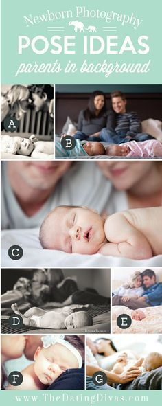 Precious Newborn Photography Pose Ideas with Parents Blurred in Background