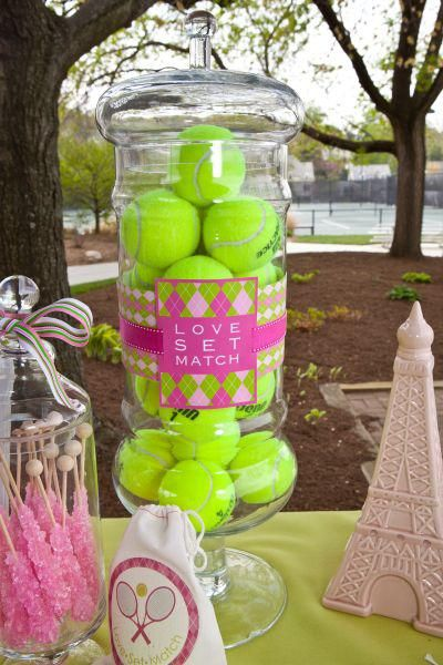 French Open tennis Themed Birthday Party - Tennis Balls fille this large glass jar with your custom label around it.