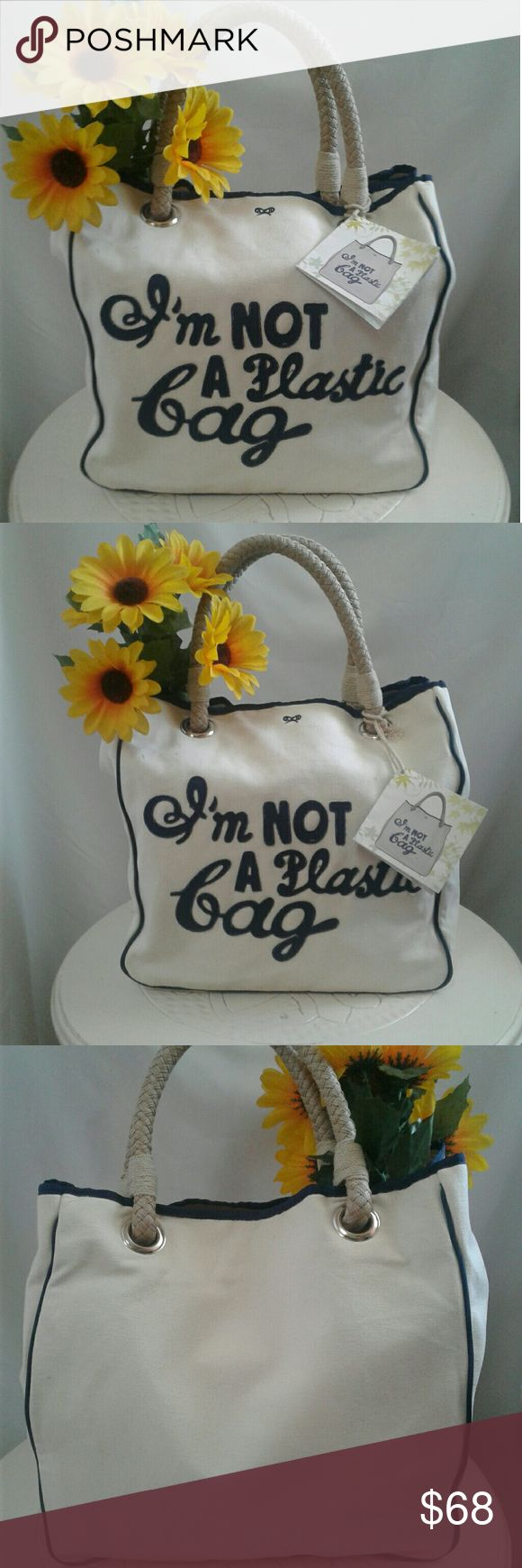 """♻LIMITED EDITION♻  Anya Hindmarch  Tote NWT.....Authentic/Rare..2007 Limited edition  canvas tote Promoting  the use of reusable bags  """"WE ARE WHAT WE DO""""♼ In Excellent condition Anya Hindmarch Bags Totes"""