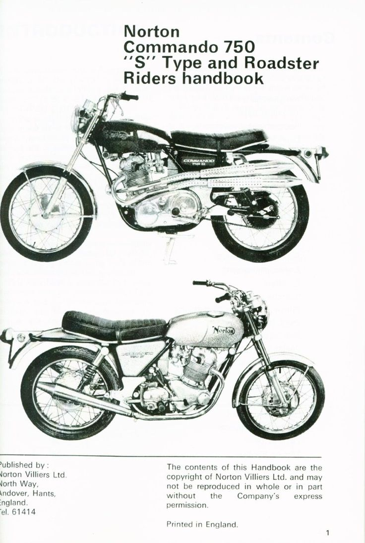 Norton Commando Roadster and S Type Riders Handbook Manual