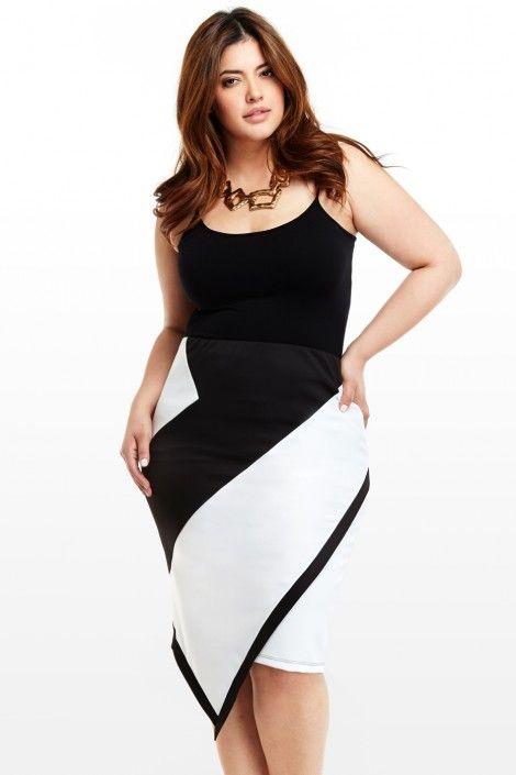 Plus Size Boulevard Asymmetric Skirt
