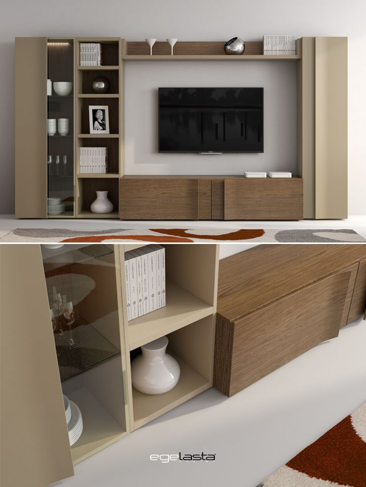 Muebles · egelasta · live · mueble · madera · moderno · comedor · vitrina · roble cuero · laca arena