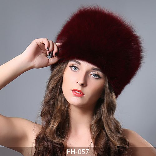 MBA Furs-Women's Winter Whole Set of Fox Skin Hat With Fox Tail   FH-057 (9) (Red wine)