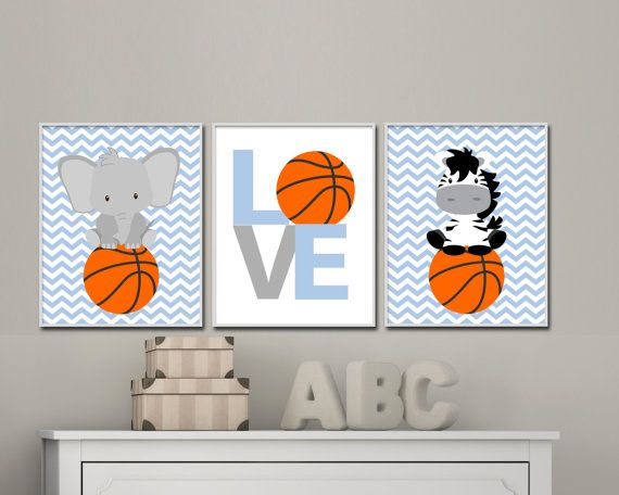 Baby boy nursery wall art. Baby animal sports art. Basketball nursery art prints suits boys bedroom decor, basketball Animals- H115 This listing is for 3 art prints only - frame not included. These prints are professionally printed on high quality heavyweight matte paper with archival