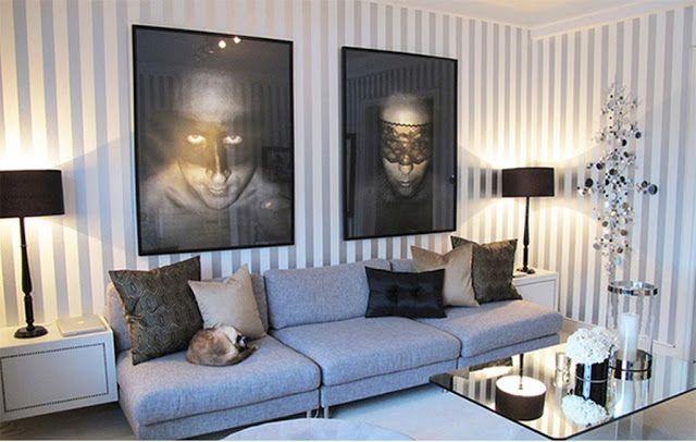 Déco inTérieur BLeu et Gris | Décoration salon moderne avec des murs rayés ~ Décor de Maison ...