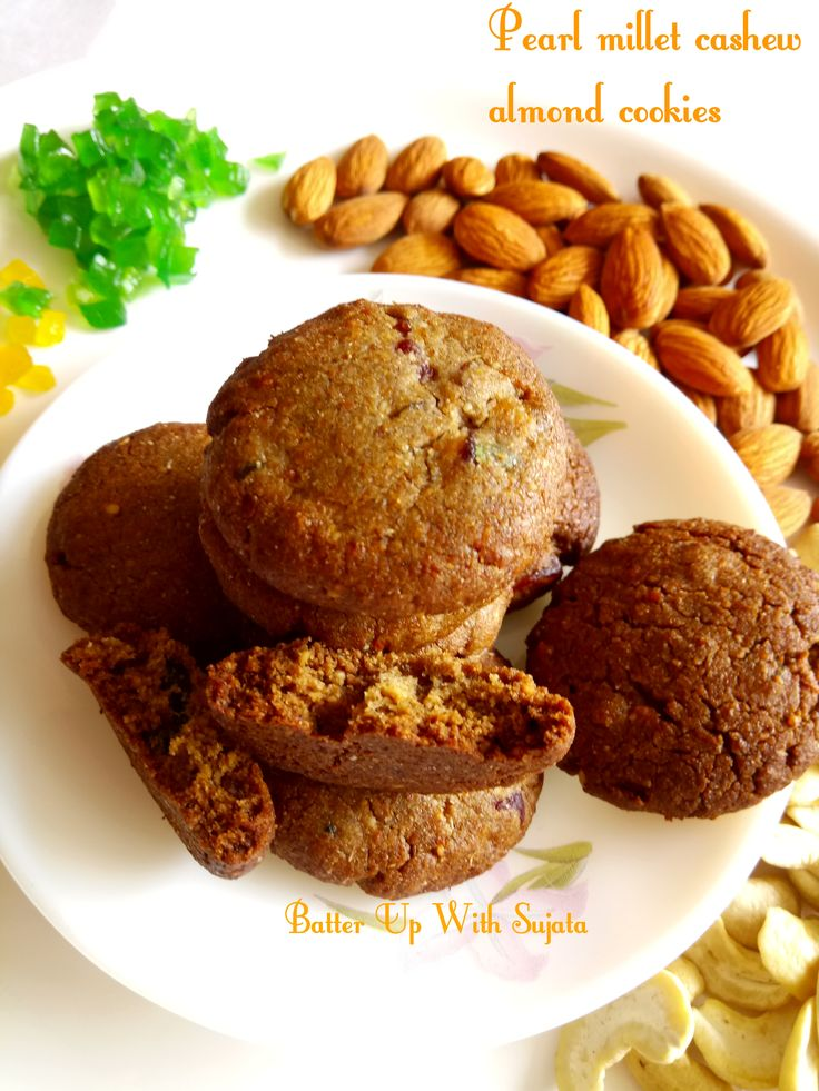 Pearl millet cashew almond honey cookies. This delicious, soft and chewy cookies are eggless and gluten free. I have used pearl millet or bajra atta to make these cookies. A perfect treat for your …