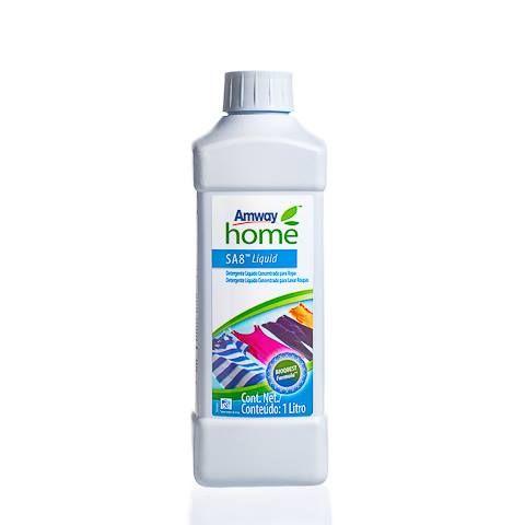 AMWAY HOME SA8 LIQUIDO  SA8™ Detergente Líquido Concentrado para Lavar Roupas é especialmente formulado para ser usado em todos os tipos de máquina de lavar e sob várias temperaturas. Seu poder limpador de alta qualidade oferece desempenho efetivo na manutenção de cores brilhantes, evitando que as roupas escuras desbotem. Não deixa resíduos.