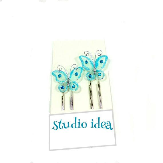 Set of 2 butterfly paper clips Blue Butterfly Planner Clips