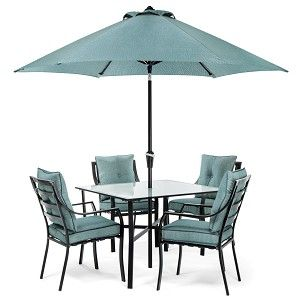 LAVALLETTE 5-PIECE DINING SET IN OCEAN BLUE WITH TABLE UMBRELLA AND STAND - LAVDN5PC-BLU-SU