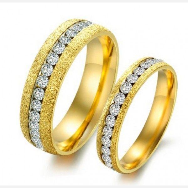 Jeulia Love  - Coppia di anelli Lui e Lei con Cristallo in Acciaio dorato e Titanio placcato in oro