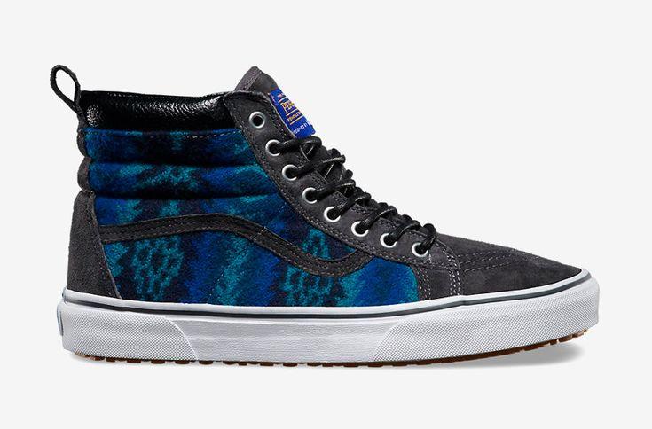 Vans x Pendleton — Sk8-Hi MTE — zateplené kotníkové boty s kožíškem, vlněné sneakers se vzory, vysoké — šedé, modré — dámské, pánské