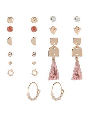 ea06f0496 Accessorize | 10x Mocha Stud Earrings Set | Pink | One Size | 5817867000