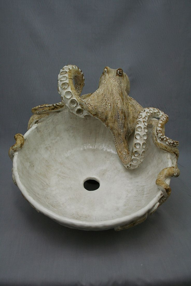 Octopus shower curtain etsy - Large Hand Made Ceramic Octopus Vessel Sink By Shayne Greco Beautiful Mediterranean Pottery