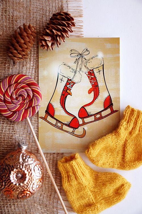 #Christmas #holidays #winter #woolen_socks #sweet #skates #new_year