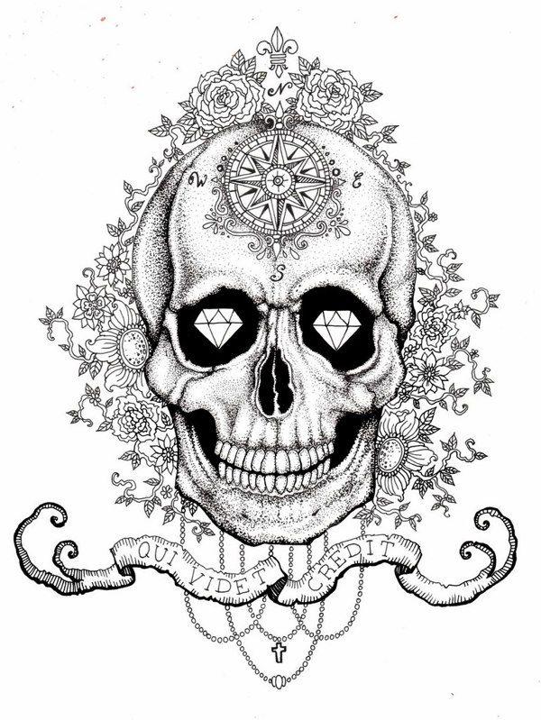 Skull with diamond eyes by Vika
