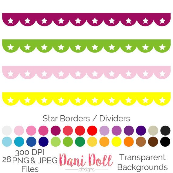 Star Scallop Border Dividers 28 Colours Clip Art Elements PNG JPEG Commercial Use Scrapbooking Instant Download by danidolldesignsx