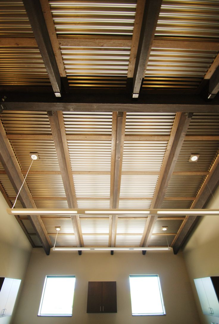 Corrugated ceiling in office.