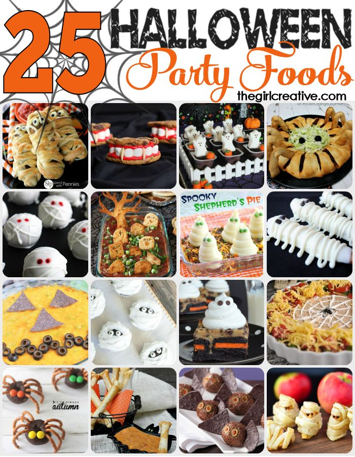 25 spooky, fun and delicious Halloween party foods. Desserts, appetizers and dips. You can't go wrong with this collection.: