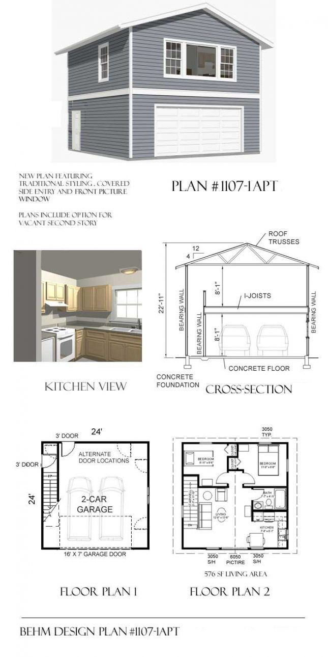 2 Story 2 Car Apartment Garage Plan 1107 1apt 24 X 24 By Behm Design Garage Apartment Plan Small House Plans Garage Apartment Plans