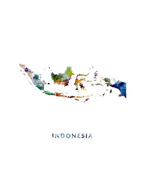 Indonesia Map, Watercolor Print, Jakarta Indonesia Poster Watercolor Painting Office Home Decor Wall Decor Travel Gift Digital Download