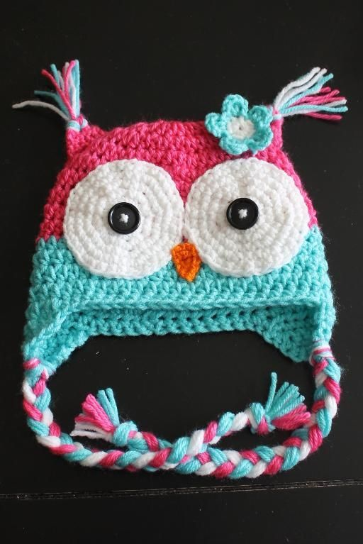 Two Toned Owl Beanie with Flower