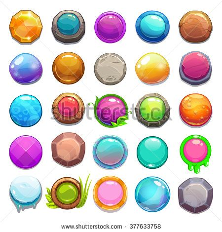 Big set of cartoon round buttons, vector gui assets collection for game design - stock vector