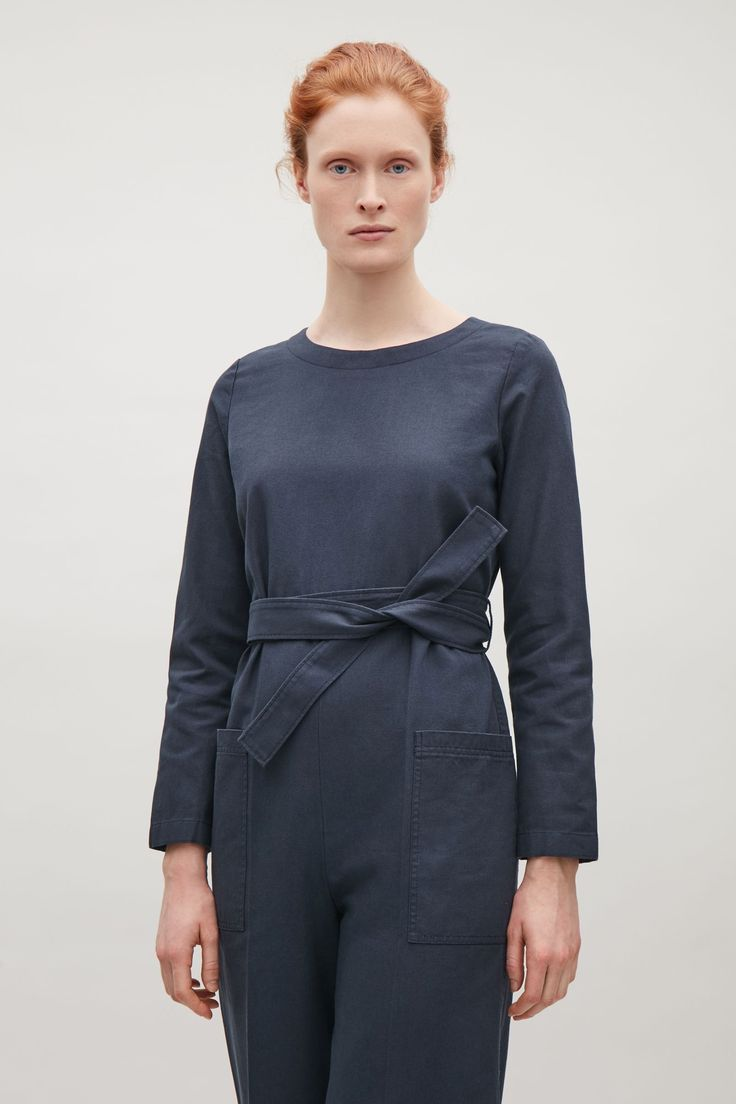 COS image 3 of Canvas jumpsuit in Steel Blue