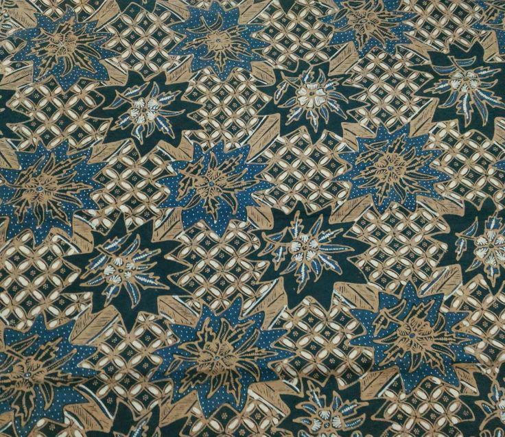 Handmade Batik Kawung Flower, natural color of indigo