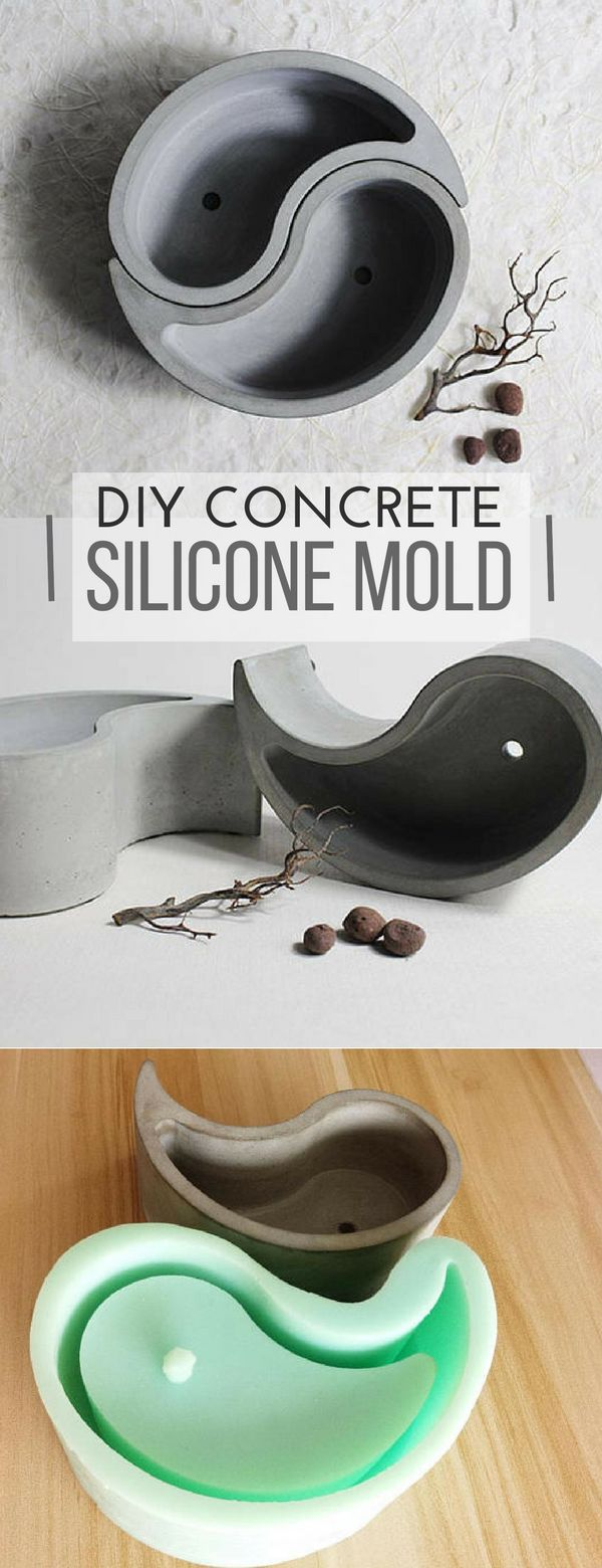 Gorgeous Ying Yang concrete planters. With this reusable silicone mold I could make a lot of planters for my friends too. #ad #siliconemold #concrete #cement #planter #flowerpot #homedecor #yingyang #decor