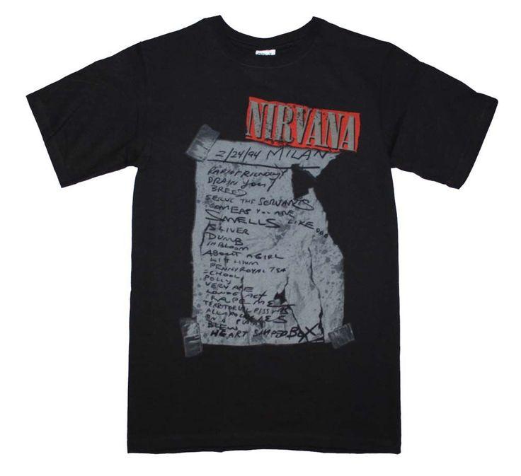 Nirvana Milan Set List T-Shirt-ONLINE ONLY-#1lt2f #1lt2fskateshop #fashion #skateboarding #skateboard #longboarding #mensfashion #womensfashion #fashion #apparel #skatedecks #toys #games #dccomics #marvel #music