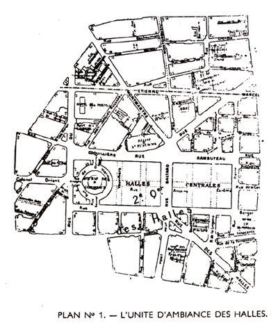"""Abdelhafid Khatib : """"La caractéristique essentielle de l'urbanisme des Halles est l'aspect mouvant du dessin des lignes de communication, tenant aux différents barrages et aux constructions passagères qui interviennent d'heure en heure sur la voie publique."""""""
