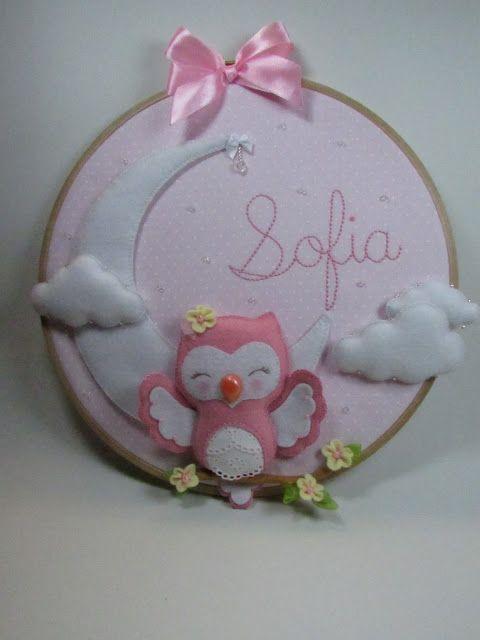 Sweet pink owl decoration, #felt  Gracinhas Artesanato