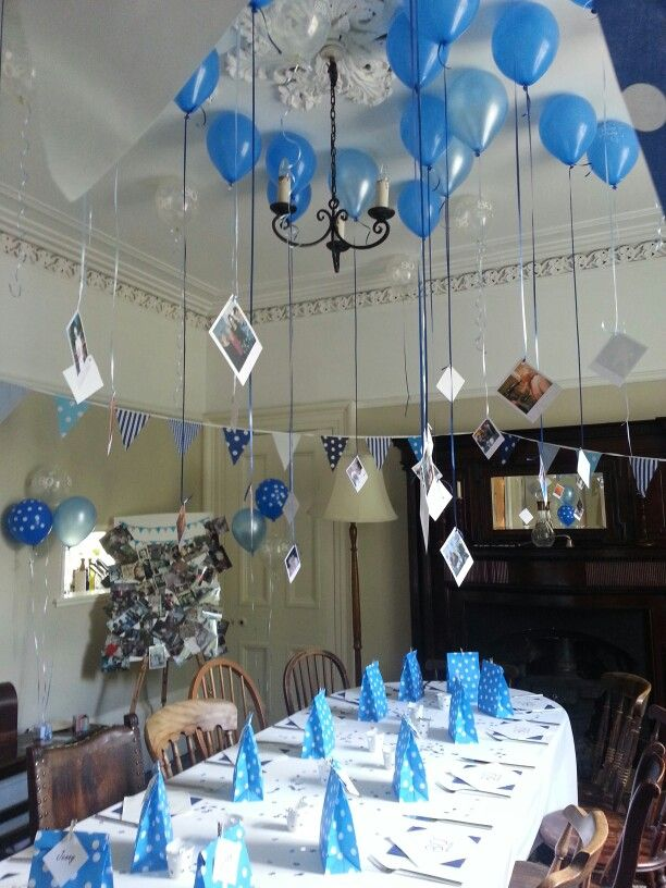 Dining room decoration for my grandma's 80th Birthday Dinner.  Balloons with photos tied to the strings,  party bags filled with bubbles tiaras and silly games and a photo board of memories.
