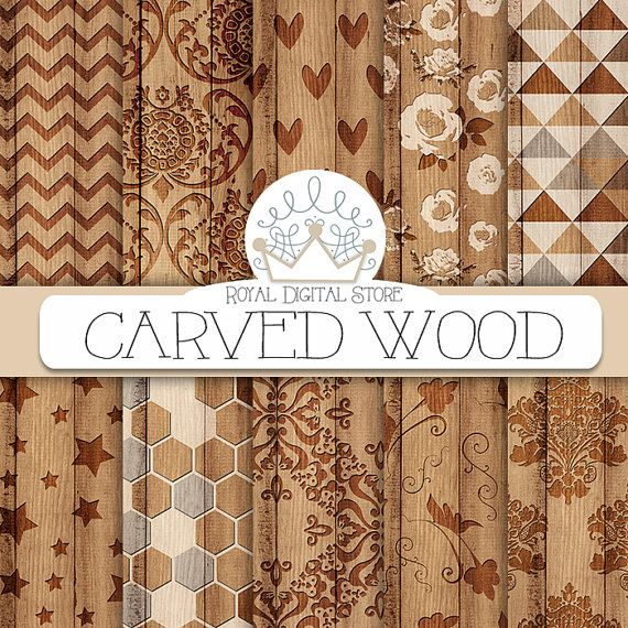 Wood digital paper: CARVED WOOD with wood