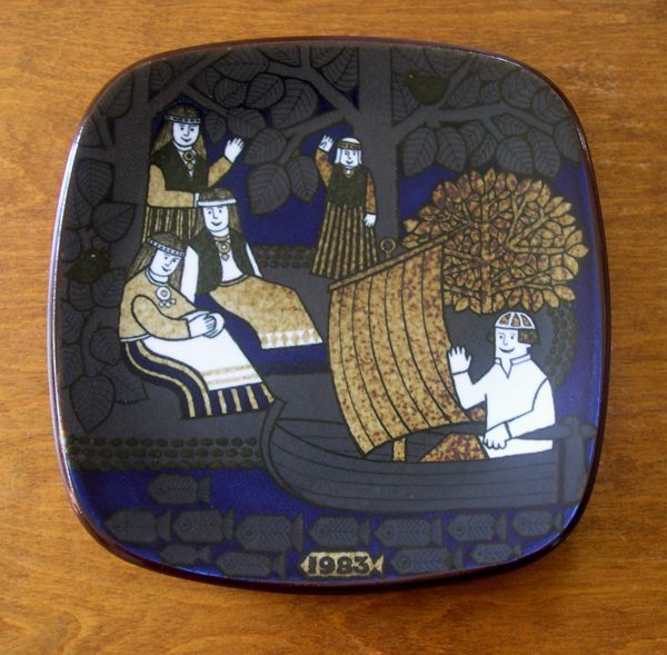 The Kalevala plates of Finland: The picture shows Lemminkainen in his boat waving towards the women. Blackbirds are sitting in the trees.