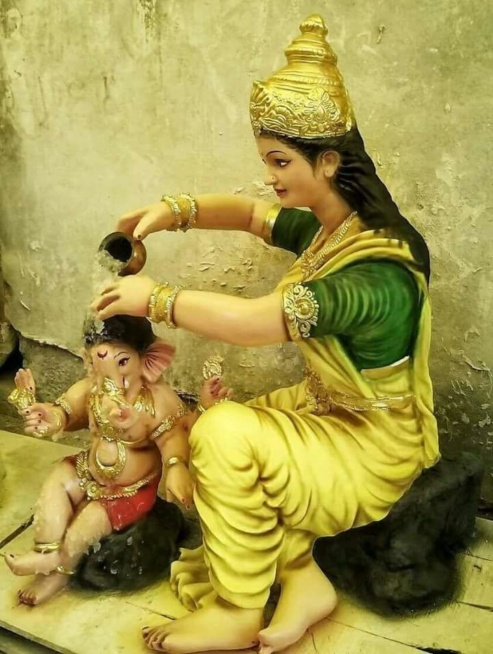 Ma Durga bathing young son Ganesha