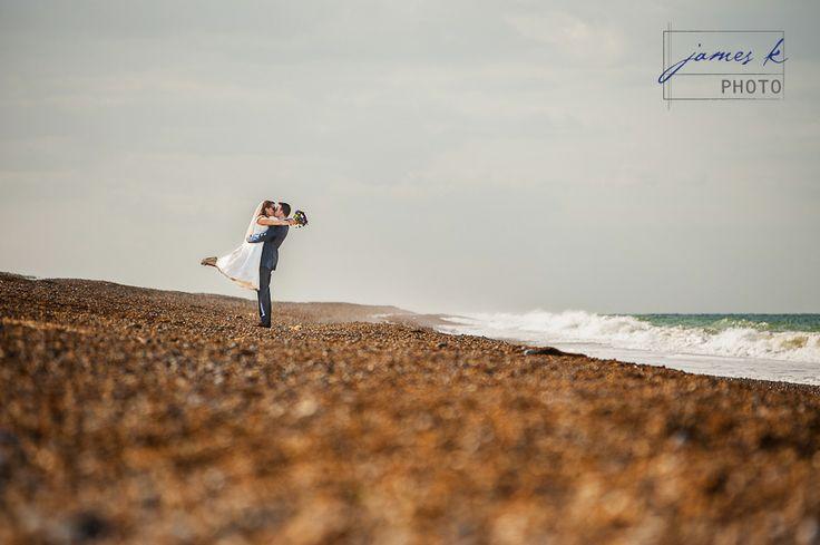 Cley Wedding Beach Kiss