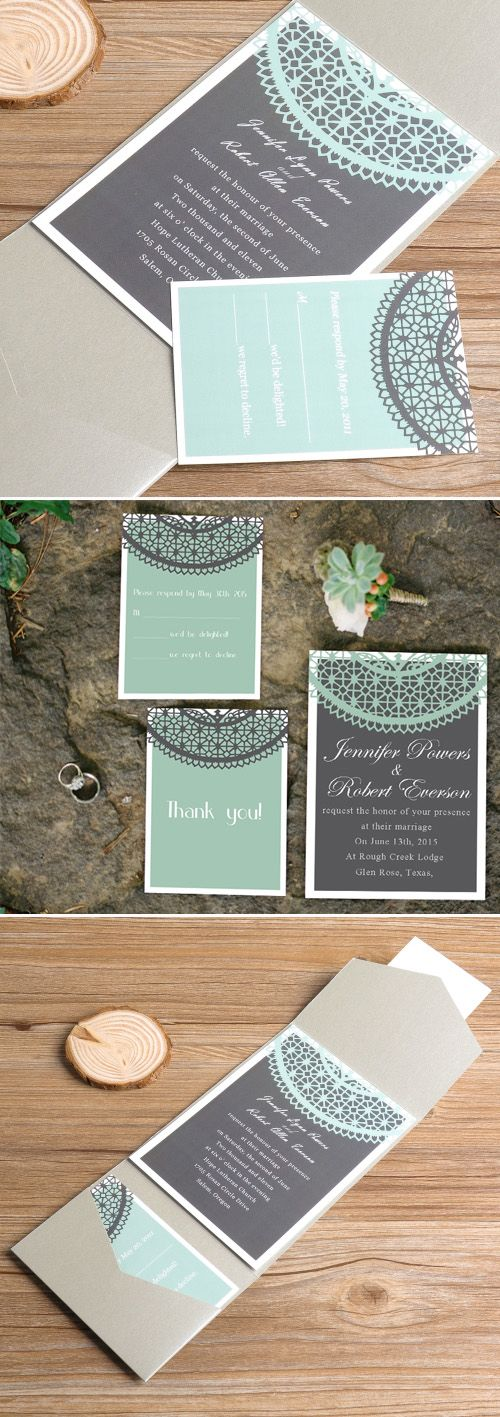 Mint Green and Grey Pocket Lace Wedding Invitations                                                                                                                                                                                 More
