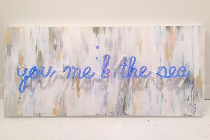 "You Me & the Sea Acrylic, gold and silver leaf on panel, vintage blue neon 18"" x 40"" $1525"