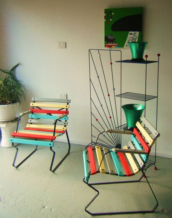 Stunning plant stand and 1950s harlequin patio chairs