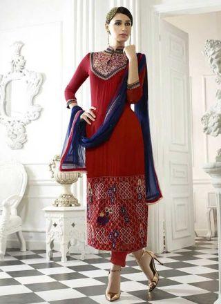 Red Embroidery Lace Border Stone Work Georgette Party Wear Pakistani Salwar Kameez http://www.angelnx.com/Salwar-Kameez