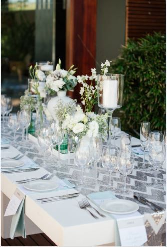 White, mint and silver wedding table decor done by Jade Customised Events. We loved our silver zig zag runner with naked table.  ~ Image Property of Darren Bester Photography