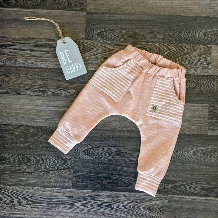 Blush striped harem joggers with side pockets