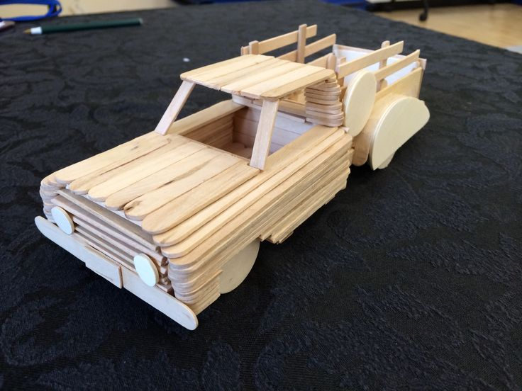 2014's Popsicle stick craft! This one was fun! #summercamp #pickuptruck http://menloparkmartialarts.com