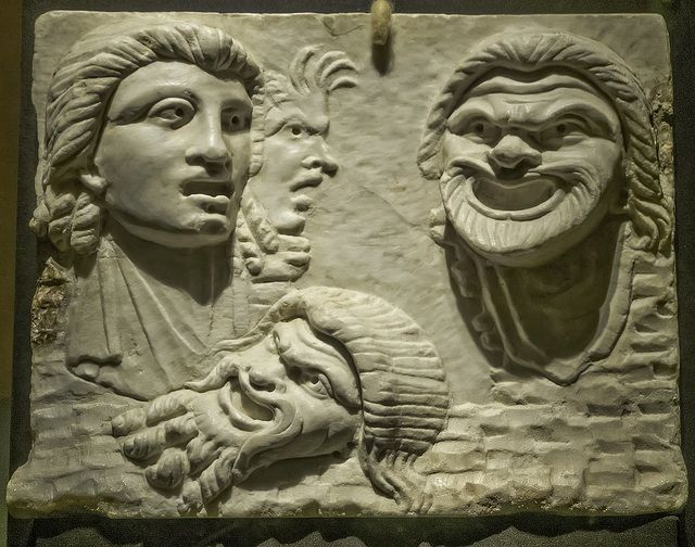 A Pinax, a bas relief of tragic theater masks Roman Pompei… | Flickr - Photo Sharing!