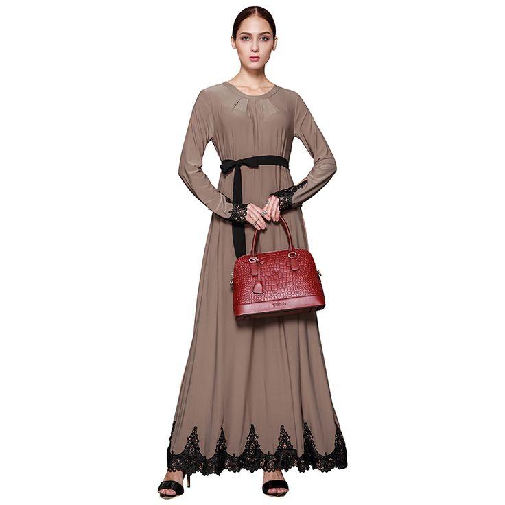 US $40.99 Babalet Womens' Elegant Modest Muslim Islamic Clothing O-Neck Lace Hem Long Maxi Abaya Muslim Party Dress with Wrap Plus Size #Babalet #Womens' #Elegant #Modest #Muslim #Islamic #Clothing #O-Neck #Lace #Long #Maxi #Abaya #Party #Dress #with #Wrap #Plus #Size